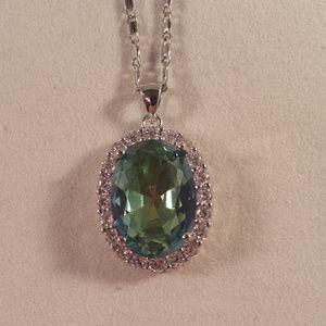 Jewelry - 18K WG Blue Mystical Topaz Zircon Pendant Necklace